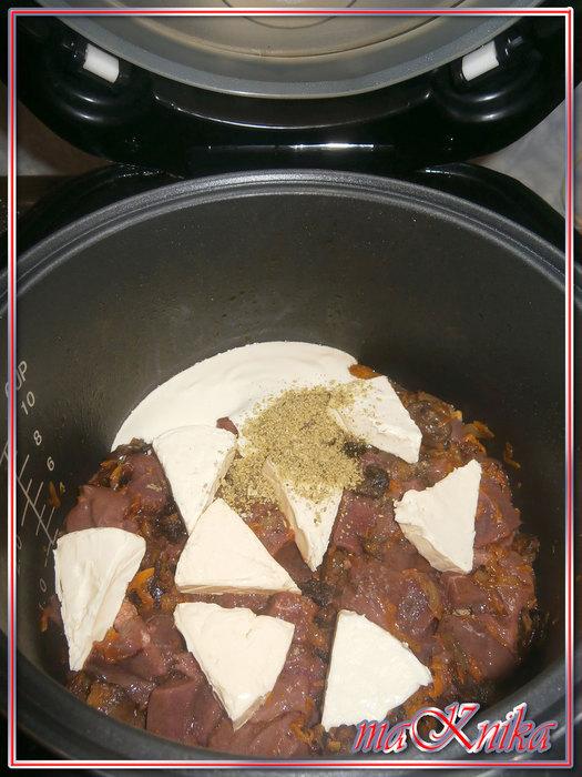 п4 Печень с грибами в сырной подливе
