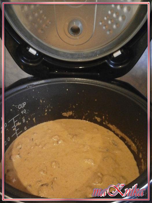 п6 Печень с грибами в сырной подливе