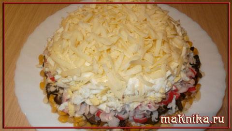 Салат из грибов и крабовых палочек рецепт с
